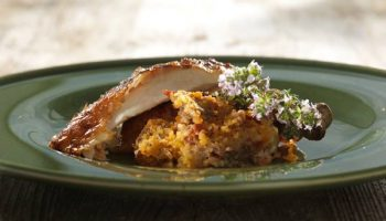 Roast Chicken with honey, butter and chorizo stuffing